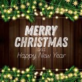 Fir Branch with Neon Lights on Wooden Background. Merry Christmas and Happy New Year. Vector Illustration Stock Photos