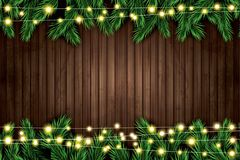 Fir Branch with Neon Lights on Wooden Background. Vector illustration Stock Photos