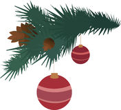 Fir branch with pine cones and balls. New Year Stock Photo