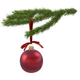 Fir branch with red ball 3d illustration Royalty Free Stock Photography