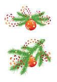 Fir branch and red Christmas balls Stock Photos