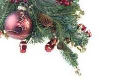 Fir branch red and gold ribbon Stock Photos