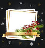 Fir branch and white sheet of paper. Royalty Free Stock Image