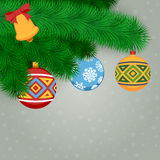 Fir Branches And Balls. Christmas Background With Fir Branches And Balls. Vector Illustration Royalty Free Stock Images