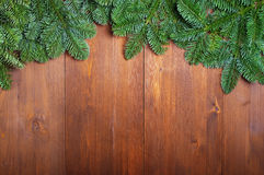 Fir branches on boards Stock Photo
