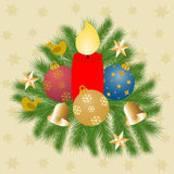 Fir branches with burning red candle Royalty Free Stock Photography