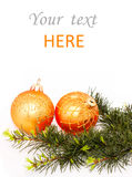 Fir branches and Christmas balls Royalty Free Stock Photography