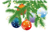 Fir branches and Christmas balls. Fir branches, Christmas balls and garland on white background Stock Images