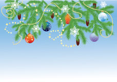 Fir branches and Christmas balls. Spruce branches with cones and Christmas balls Royalty Free Stock Images