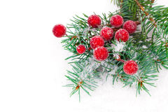 Fir branches with Christmas decorations Stock Photo