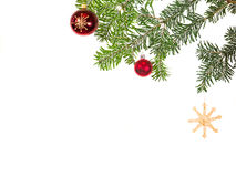 Fir branches with Christmas decorations Royalty Free Stock Photos