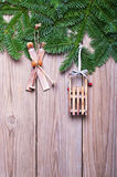 Fir branches and  Christmas decorations Stock Image