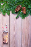 Fir branches and  Christmas decorations Royalty Free Stock Images