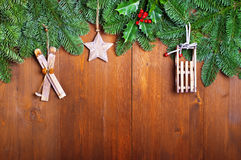 Fir branches and  Christmas decorations Stock Photo