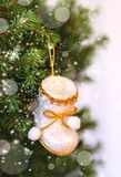 Fir branches, Christmas stockings and snowflakes Royalty Free Stock Photo