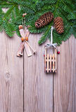 Fir branches with cones  and  Christmas decorations Stock Photography