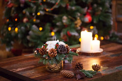 Fir branches decorated for the new year on dark Stock Photography