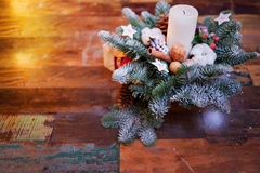 Fir branches decorated for the new year on dark Royalty Free Stock Photo