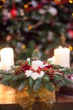 Fir branches decorated for the new year on dark Stock Photos