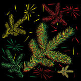 Fir branches and fireworks Royalty Free Stock Photo