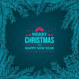Fir branches frame on the dark blue background. New Year 2018 and Merry Christmas typographical vintage badge. On the dark background with snow. Fir branches Royalty Free Stock Photography