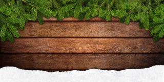 Fir branches frame on wood Stock Images