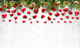 Fir branches and hearts. On a white wooden background. Vector illustration Stock Images