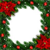 Fir branches holiday frame with poinsettia and ornaments stock image