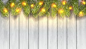 Fir branches with light bulbs. Holiday background with fir tree branches, light bulbs and snow on white wood board. Vector illustration Stock Photography