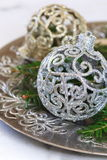 Fir branches and New Year's decoration Stock Photos