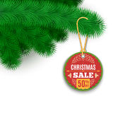 Fir Branches And Sale Label. Christmas Background With Fir Branches And Sale Label. Vector Illustration Stock Photos