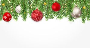 Fir Branches with Snow and Balls. Merry Christmas and New Year Winter Background. Vector Illustration. EPS10n Royalty Free Stock Images