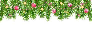 Fir Branches with Snow. Merry Christmas and New Year Winter Background. Vector Illustration. EPS10 Royalty Free Stock Images