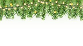 Fir Branches with Snow. Merry Christmas and New Year Winter Background. Vector Illustration. EPS10 Stock Photo