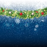 Fir Branches with Snow. Merry Christmas and New Year Winter Background. Vector Illustration. EPS10 Stock Images
