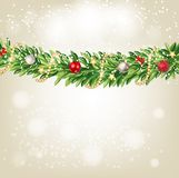 Fir Branches with Snow. Merry Christmas and New Year Winter Background. Vector Illustration. EPS10 Stock Photos