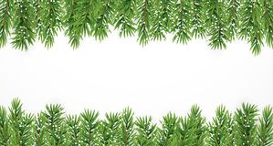 Fir Branches with Snow. Merry Christmas and New Year Winter Background. Vector Illustration. EPS10n Stock Photography