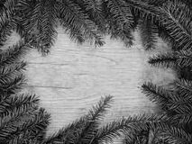 Fir branches on texture wood background, top view Stock Photos