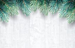 Fir branches with white wooden texture. Christmas Background.  Vector Illustration Royalty Free Stock Image