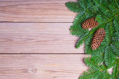 Fir branches on wooden boards Stock Images