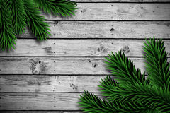 Fir branches on wooden planks Stock Photos