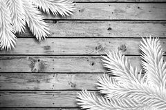 Fir branches on wooden planks. With copy space Stock Images