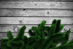 Fir branches on wooden planks. With copy space Royalty Free Stock Image
