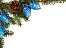 Fir brunch with christmas decoration Stock Image