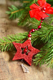 Fir brunch with christmas star. Stock Image