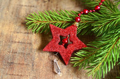 Fir brunch with christmas star. Royalty Free Stock Photos