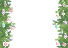 Fir brunches border. Seamless pattern border with green fir brunches and multicolor Christmas decorations on a white background Stock Photo