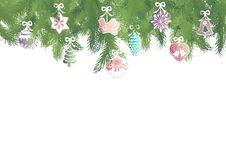 Fir brunches border. Seamless pattern border with green fir brunches and multicolor Christmas decorations on a white background Stock Photography