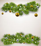 Fir bundle christmas frame. Detailed frame with fir bundles and golden balls. Christmas background. Vector illustration Royalty Free Stock Images