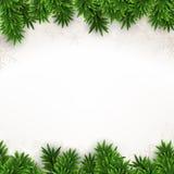 Fir christmas background. Christmas background with fir and snowflakes. Vector illustration Stock Photos
